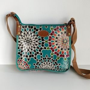 Fossil Key-Per crossbody bag in turquoise print